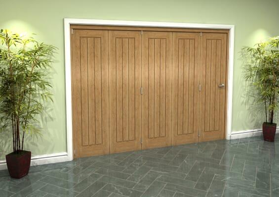 Prefinished Mexicano Oak 5 Door Roomfold Grande (5 + 0 x 533mm Doors)