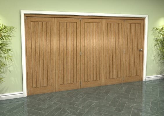 Prefinished Mexicano Oak 5 Door Roomfold Grande (5 + 0 x 686mm Doors)