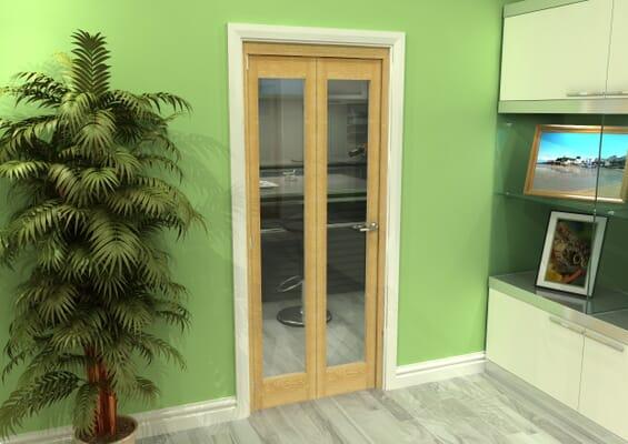 Glazed Oak 2 Door Roomfold Grande (2 + 0 x 381mm Doors)