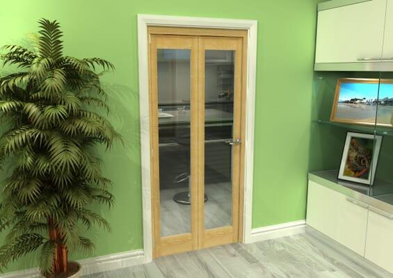Glazed Oak 2 Door Roomfold Grande (2 + 0 x 419mm Doors)