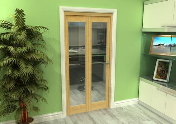 Glazed Oak 2 Door Roomfold Grande (2 + 0 x 457mm Doors)