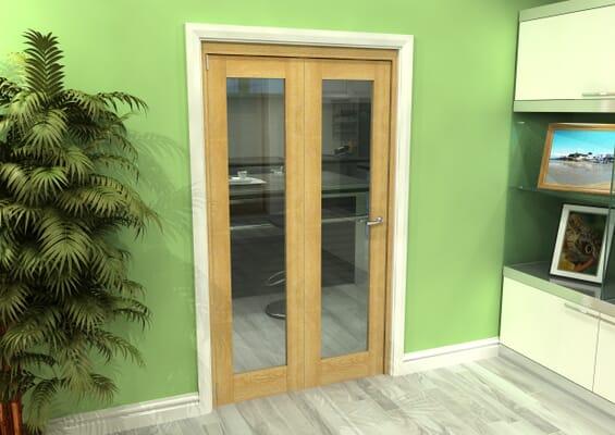 Glazed Oak 2 Door Roomfold Grande (2 + 0 x 573mm Doors)