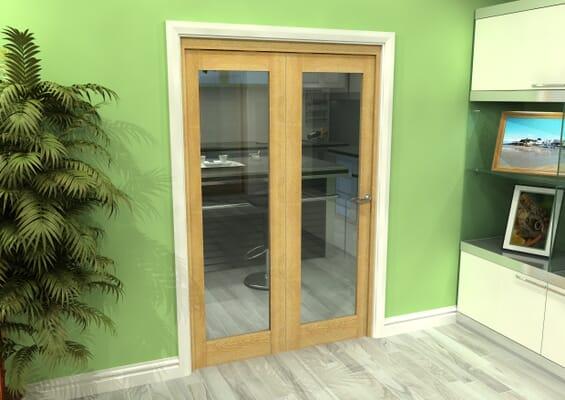 Glazed Oak 2 Door Roomfold Grande (2 + 0 x 610mm Doors)
