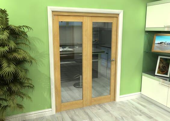 Glazed Oak 2 Door Roomfold Grande (2 + 0 x 686mm Doors)