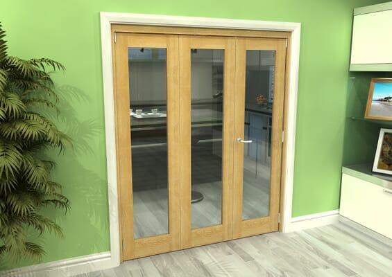 Glazed Oak 3 Door Roomfold Grande 2 + 1 x 1800mm Set