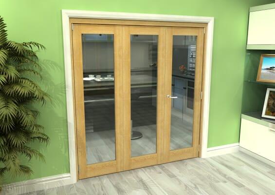 Glazed Oak 3 Door Roomfold Grande (2 + 1 x 610mm Doors)