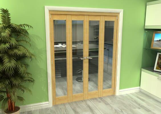 Glazed Oak 4 Door Roomfold Grande (2 + 2 x 381mm Doors)