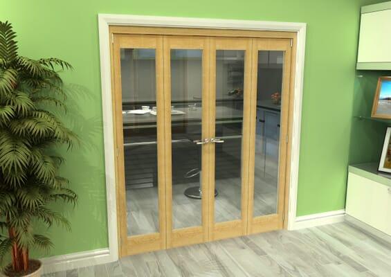 Glazed Oak 4 Door Roomfold Grande (2 + 2 x 419mm Doors)