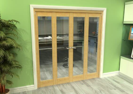 Glazed Oak 4 Door Roomfold Grande (2 + 2 x 457mm Doors)
