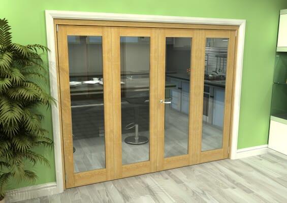 Glazed Oak 4 Door Roomfold Grande (2 + 2 x 610mm Doors)