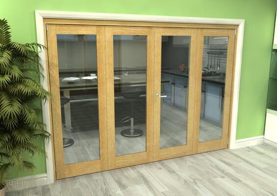 Glazed Oak 4 Door Roomfold Grande (2 + 2 x 686mm Doors)