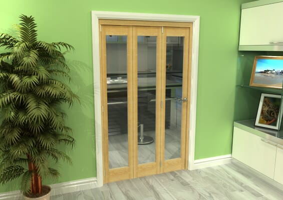 Glazed Oak 3 Door Roomfold Grande (3 + 0 x 381mm Doors)