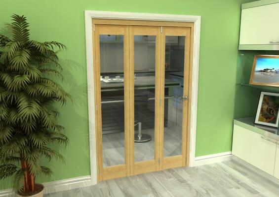 Glazed Oak 3 Door Roomfold Grande (3 + 0 x 419mm Doors)