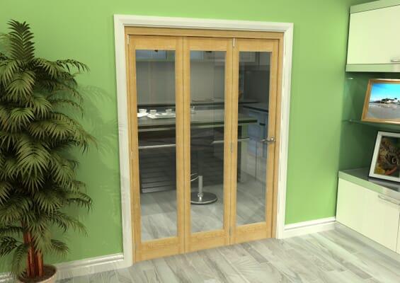 Glazed Oak 3 Door Roomfold Grande (3 + 0 x 457mm Doors)
