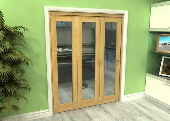Glazed Oak 3 Door Roomfold Grande (3 + 0 x 533mm Doors)
