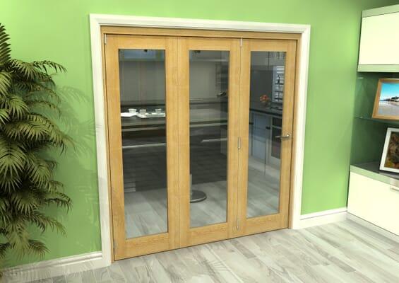 Glazed Oak 3 Door Roomfold Grande (3 + 0 x 610mm Doors)