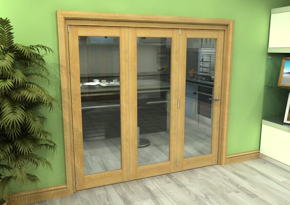 Glazed Oak 3 Door Roomfold Grande (3 + 0 x 686mm Doors)