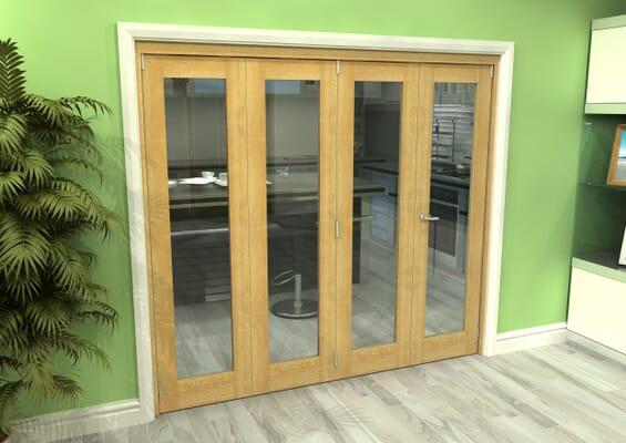 Glazed Oak 4 Door Roomfold Grande 2400mm 3 + 1 Set