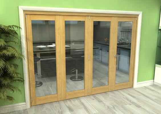Glazed Oak 4 Door Roomfold Grande (3 + 1 x 686mm Doors)
