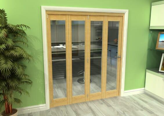 Glazed Oak 4 Door Roomfold Grande (4 + 0 x 419mm Doors)