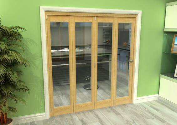 Glazed Oak 4 Door Roomfold Grande (4 + 0 x 457mm Doors)