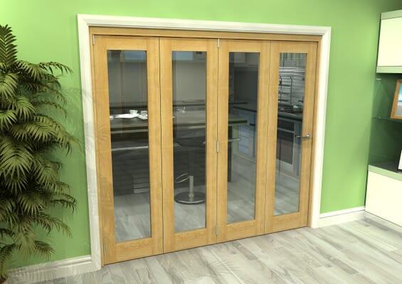 Glazed Oak 4 Door Roomfold Grande (4 + 0 x 533mm Doors)