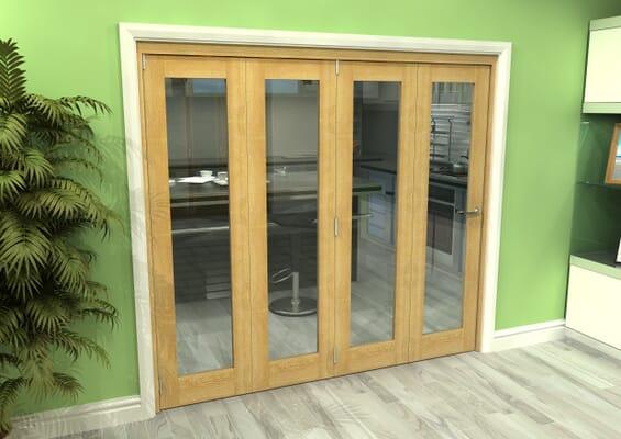 Glazed Oak 4 Door Roomfold Grande 2400mm 4 + 0 Set