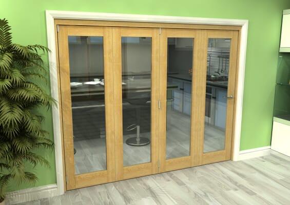 Glazed Oak 4 Door Roomfold Grande (4 + 0 x 610mm Doors)
