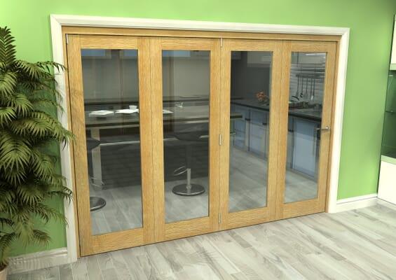 Glazed Oak 4 Door Roomfold Grande (4 + 0 x 686mm Doors)