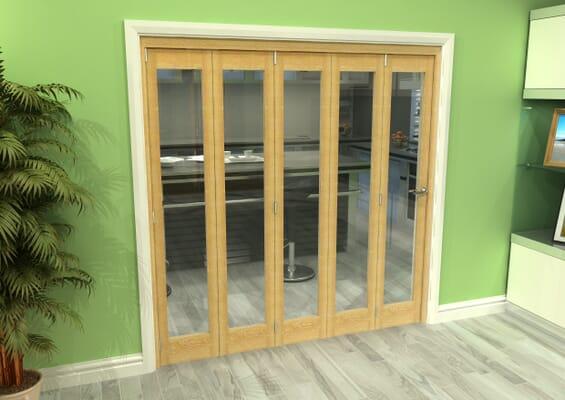 Glazed Oak 5 Door Roomfold Grande (5 + 0 x 381mm Doors)