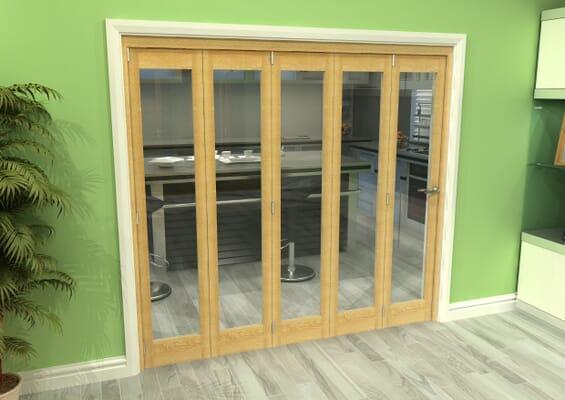 Glazed Oak 5 Door Roomfold Grande (5 + 0 x 419mm Doors)