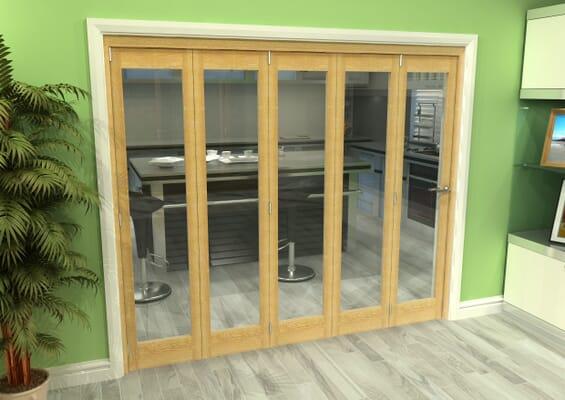 Glazed Oak 5 Door Roomfold Grande (5 + 0 x 457mm Doors)
