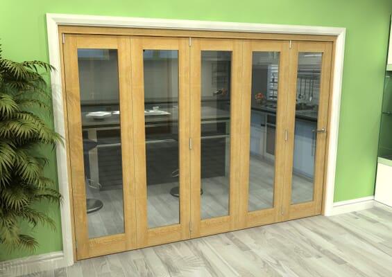 Glazed Oak 5 Door Roomfold Grande (5 + 0 x 533mm Doors)