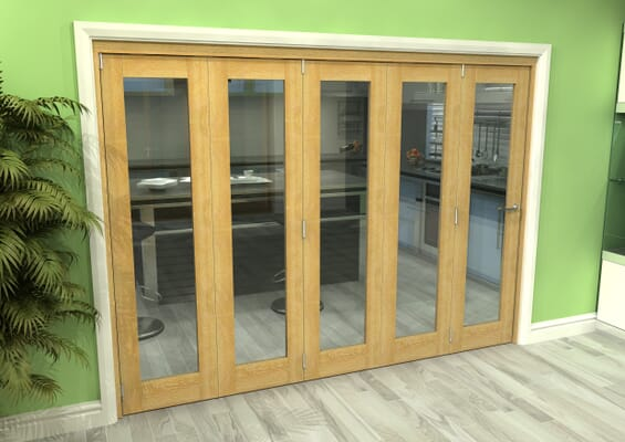 Glazed Oak 5 Door Roomfold Grande 3000mm 5 + 0 Set