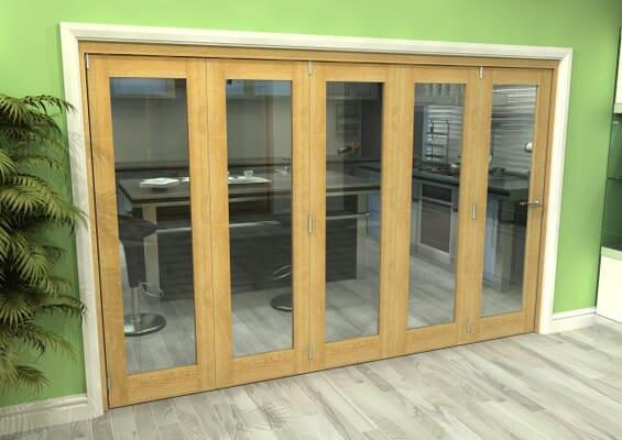 Glazed Oak 5 Door Roomfold Grande (5 + 0 x 762mm Doors)