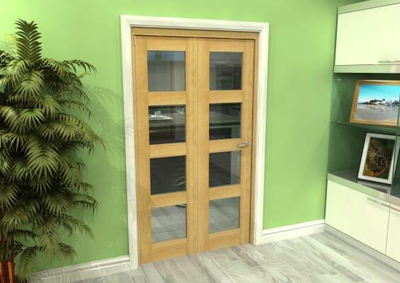 Glazed Oak 2 Door 4L Roomfold Grande (2 + 0 x 533mm Doors)