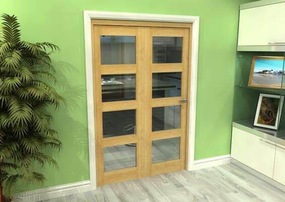 Glazed Oak 2 Door 4L Roomfold Grande (2 + 0 x 610mm Doors)