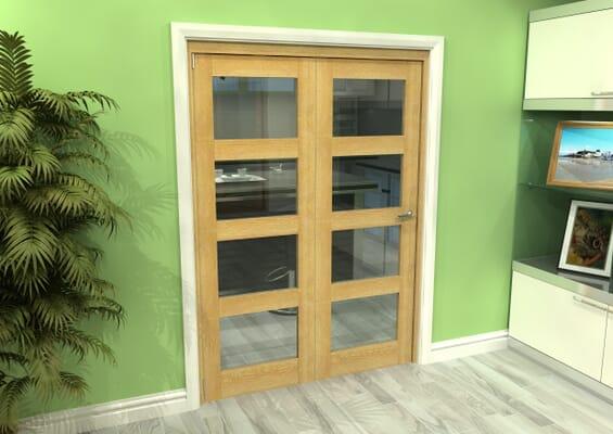 Glazed Oak 2 Door 4L Roomfold Grande (2 + 0 x 686mm Doors)