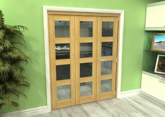 Glazed Oak 3 Door 4L Roomfold Grande (2 + 1 x 533mm Doors)