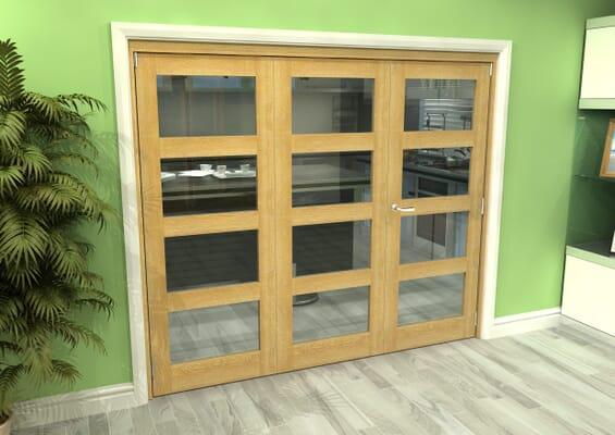 Glazed Oak 3 Door 4L Roomfold Grande 1800mm 2 + 1 Set