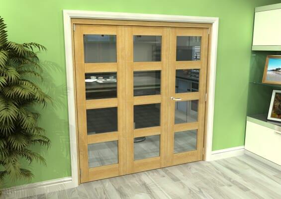 Glazed Oak 3 Door 4L Roomfold Grande (2 + 1 x 610mm Doors)