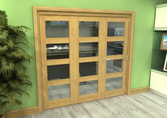 Glazed Oak 3 Door 4L Roomfold Grande (2 + 1 x 686mm Doors)