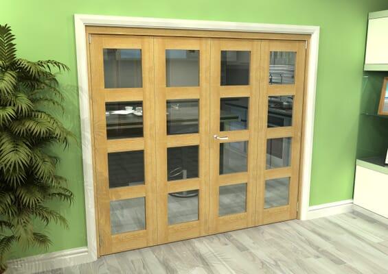 Glazed Oak 4 Door 4L Roomfold Grande 2400mm 2 + 2 Set