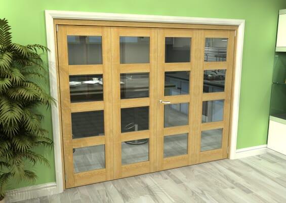 Glazed Oak 4 Door 4L Roomfold Grande (2 + 2 x 610mm Doors)