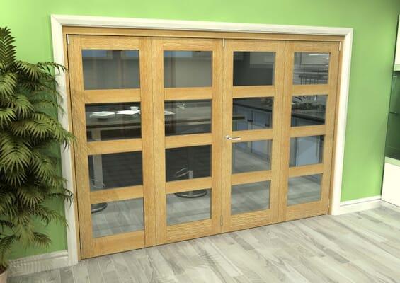 Glazed Oak 4 Door 4L Roomfold Grande (2 + 2 x 762mm Doors)