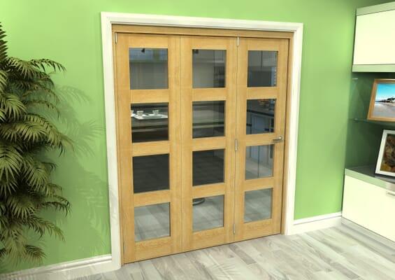 Glazed Oak 3 Door 4L Roomfold Grande 1800mm 3 + 0 Set