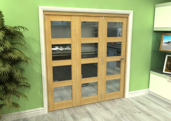 Glazed Oak 3 Door 4L Roomfold Grande (3 + 0 x 610mm Doors)