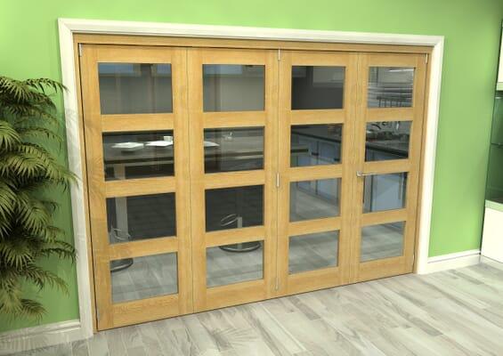 Glazed Oak 4 Door 4L Roomfold Grande (3 + 1 x 686mm Doors)