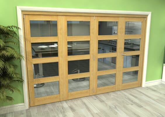 Glazed Oak 4 Door 4L Roomfold Grande (3 + 1 x 762mm Doors)