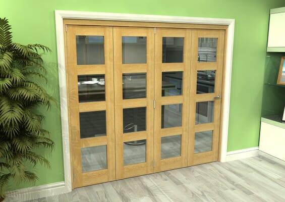 Glazed Oak 4 Door 4L Roomfold Grande (4 + 0 x 533mm Doors)